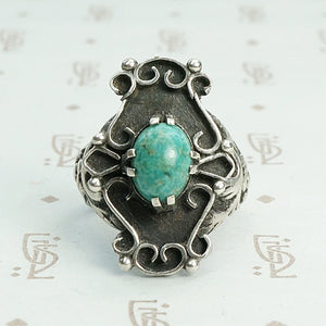 """Lucero"" Early Victorian Amazonite Silver Ring"