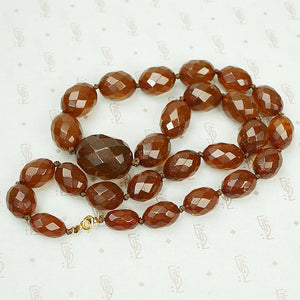 Vintage Faceted Amber Bead Necklace the color of Whiskey