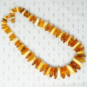 Large Chunky Amber Necklace egg yolk and honey