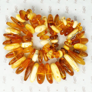 Large Chunky Amber Necklace egg yolk and honey close up