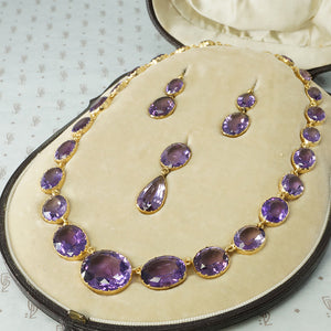 amethyst 15k gold parure in original fitted leather box