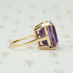 Chunky Amethyst Statement Ring Circa 1950