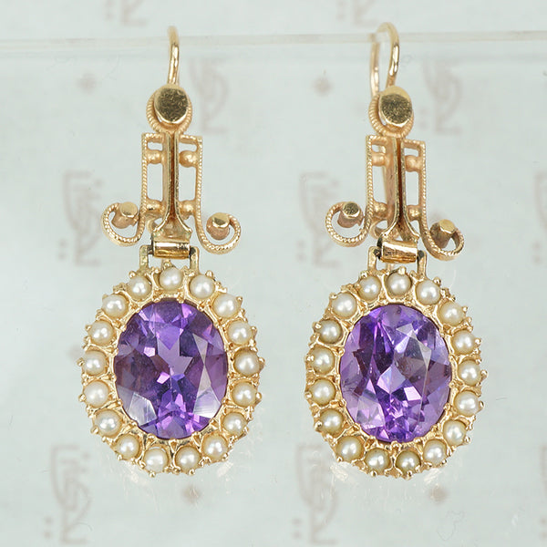 14k yellow gold and amethyst seed pearl drop earrings