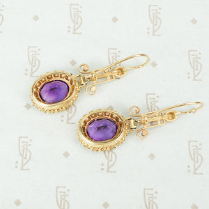 Striking Vintage Amethyst and Pearl Gold Earrings