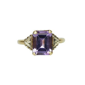 Vintage Step Cut Amethyst Ring - Gem Set Love