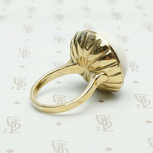 19th Century Angel Skin Coral in Heavy 18k Gold Setting