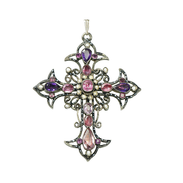 Antique French Silver Pink Beryl and Paste Cross - Gem Set Love