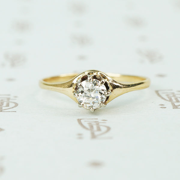 Old Euro Diamond prong set solitaire