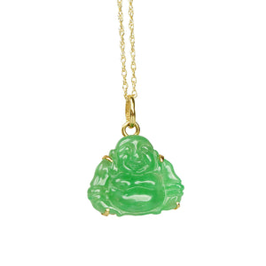 18k Gold Vintage Jade Buddha Necklace - Gem Set Love