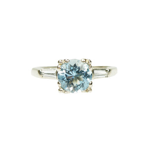 1940's Baguette Diamond and Aqua Engagement Ring