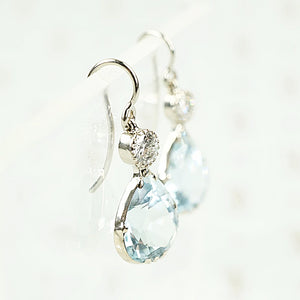 Aquamarine and Antique Diamond Earrings by GSL