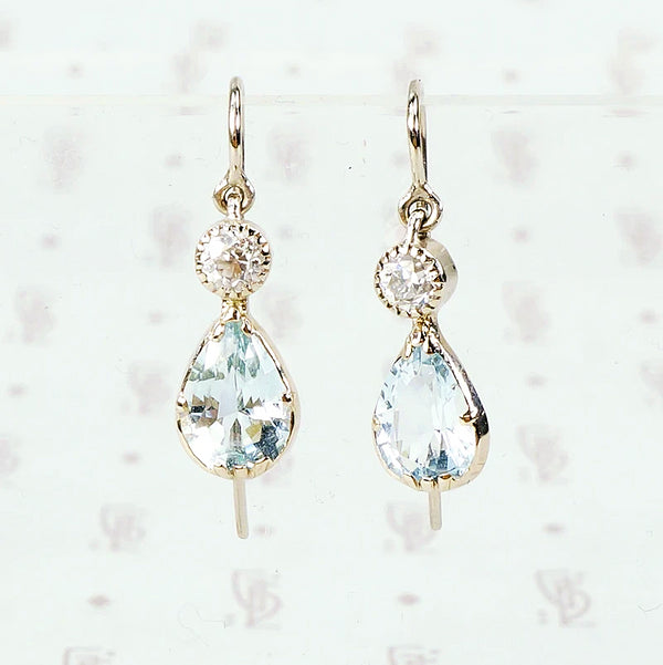 recycled white gold aquamarine and diamond earrings