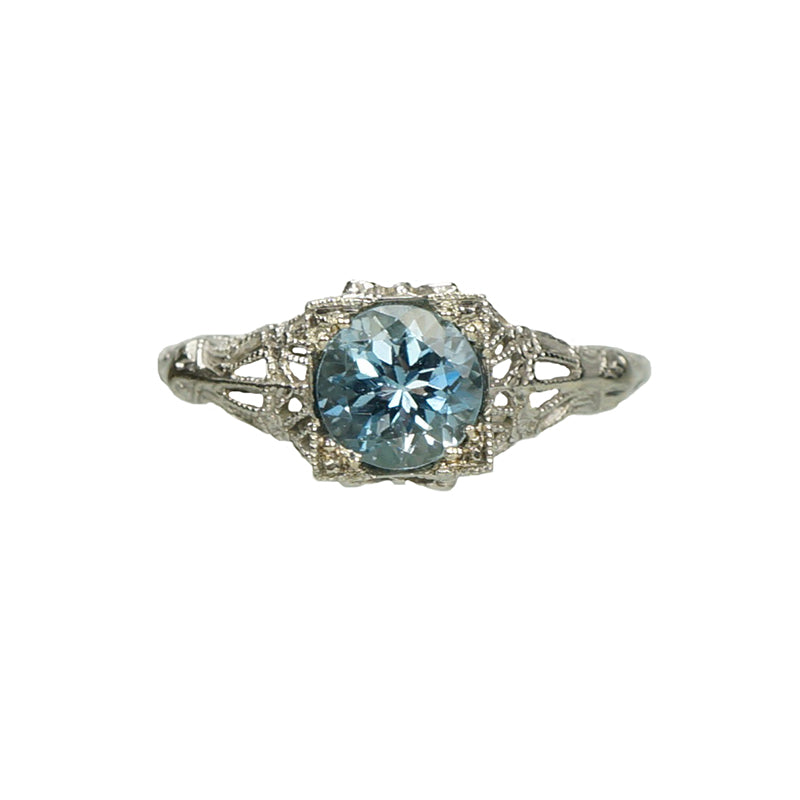 Vintage Filigree Aquamarine Engagement Ring