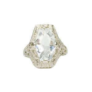 Vintage Aquamarine White Gold Filigree Ring