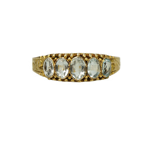 Victorian Gold Band with Aqua Beryl and Crystal Gems