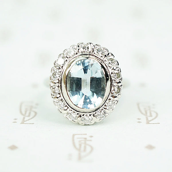 Icy Aquamarine Diamond Halo Cocktail Ring