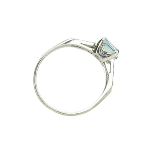 Vintage Platinum Aquamarine Engagement Ring - Gem Set Love
