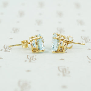 oval aquamarine yellow gold stud earrings 1960's side view