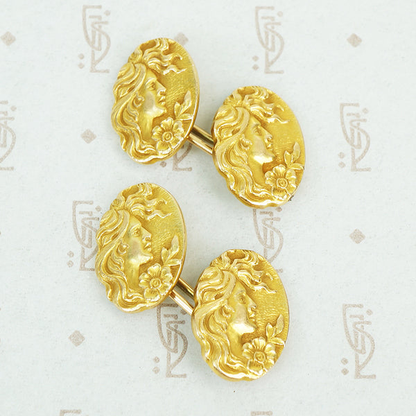 art nouveau gold cufflinks ladies faces and poppies
