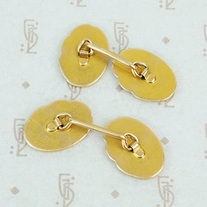 art nouveau gold cufflinks ladies faces and poppies back view of signature s in a circle