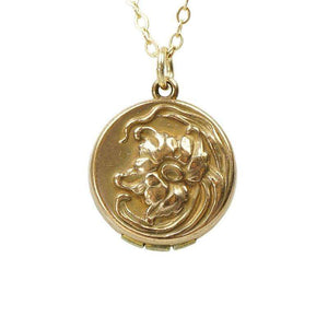 Vintage Art Nouveau Locket with a Poppy