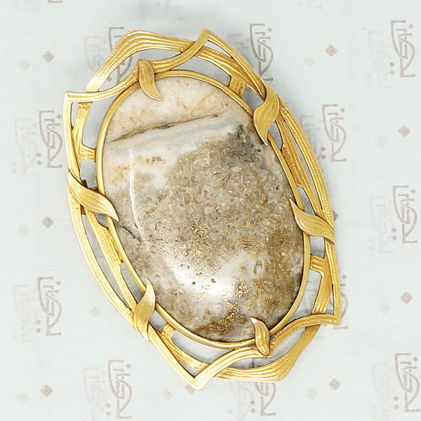 large gold quartz art nouveau brooch