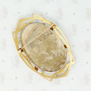 large gold quartz art nouveau brooch back