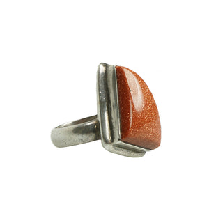 1980s art ring silver and goldstone