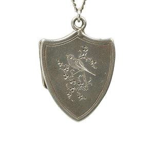 Vintage Sterling Silver Shield Shaped Locket with a Bird