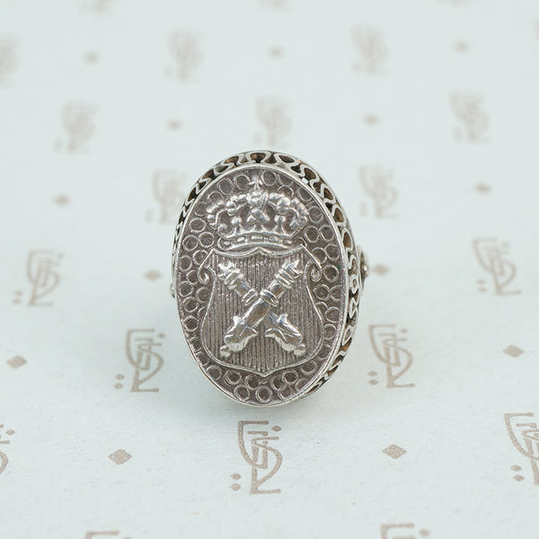 vintage austrian silver ring with crown