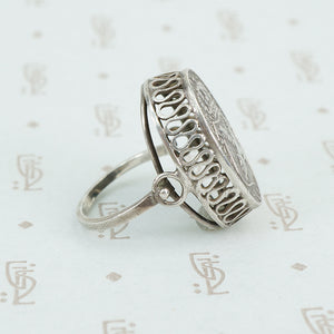 vintage austrian silver ring with crown side view