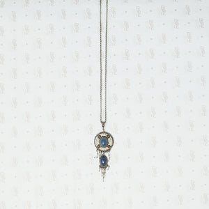 austro-hungarian lapis and seed pearl pendant in silver