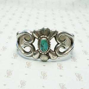 Child's Navajo Sand Cast Silver & Turquoise Cuff