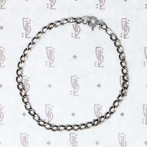 Flattened Link Light Weight Silver Bracelet