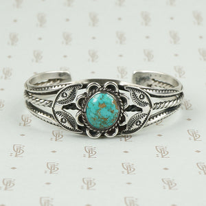 Pretty Floral Turquoise and Sterling Bracelet