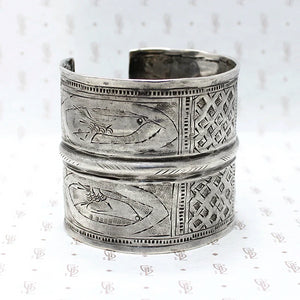 Wide Antique Burmese Silver Cuff
