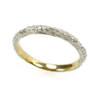 Deeply Engraved Forget me not Wedding Band in Platinum on 18k yellow gold