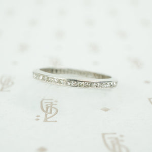 size 7.5 chanel set diamond eternity band in platinum