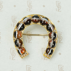 Gold Horseshoe Banded Agates and Rose Cut Diamonds