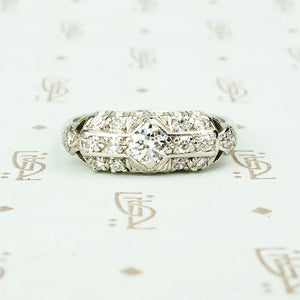 vintage platinum diamond fancy band ring
