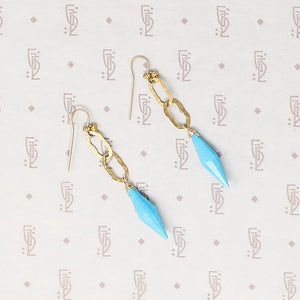 Golden Link & Turquoise Spike Earrings by Brin