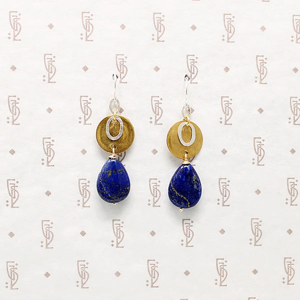 Brass & Sterling with Lapis Drop Earrings by Bri