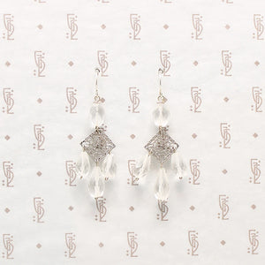 Art Deco Style Crystal & Filigree Earrings by Brin