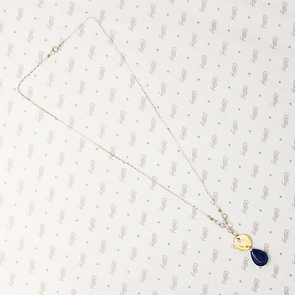 Deep Blue Lapis Necklace in Silver & Brass by Brin