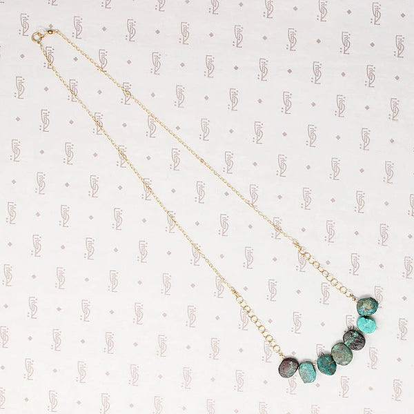 Turquoise Slabs & Gold Filled Chain Necklace by Brin