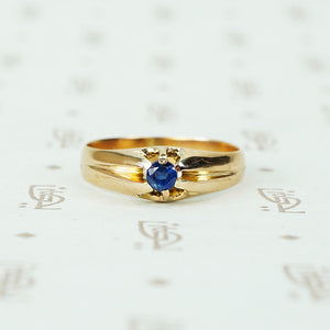 1/4 carat cornflower blue natural sapphire in 12k rose gold belcher circa 1880