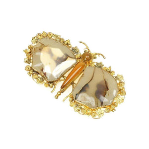 Beautiful Early 1800's Cannetille Gold and Agate Butterfly