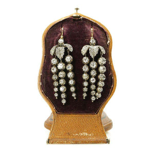 Magnificent Cascading Diamond Earrings in Unusual Standing Fitted Box