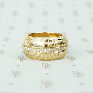 Heavy ultra mod grooved diamond set band 14k yellow gold