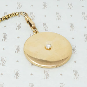 Big Heavy 14k yellow gold diamond set locket vintage